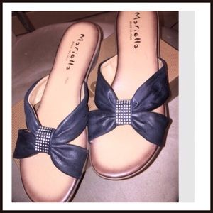 Mariella Leather Wedge Embellished Sandal
